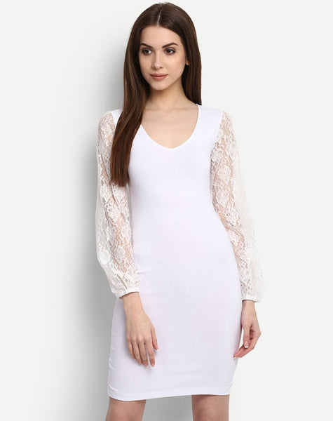 Online White Lace Bodycon Dress Designer V-Neck Style Bodycon Midi Dress