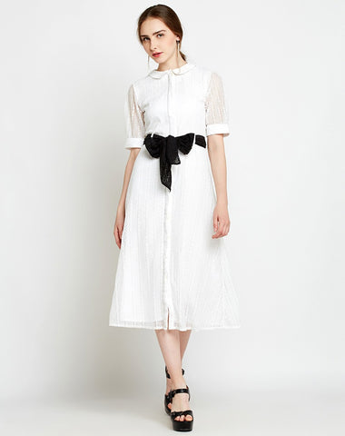 white-lace-net-knotted-shirt-3/4-sleeve-designer-midi-dress