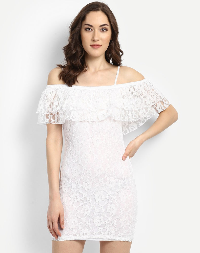 4bec85442b43 Shop Online Bodycon Dress White Cold Shoulder Ruffles Lace Bodycon Dress –  Lady India