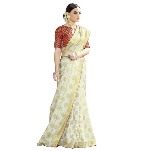Off White Silk Saree