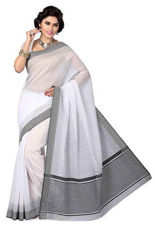 White Saree With Black Border