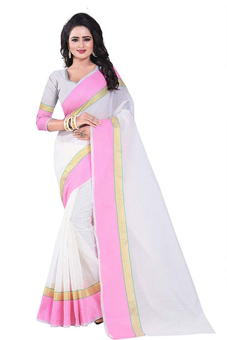 White Saree With Pink Border