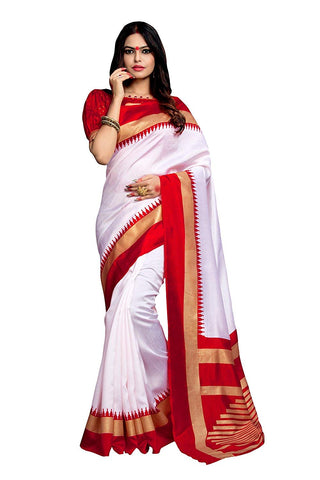 White Silk Saree With Red Border