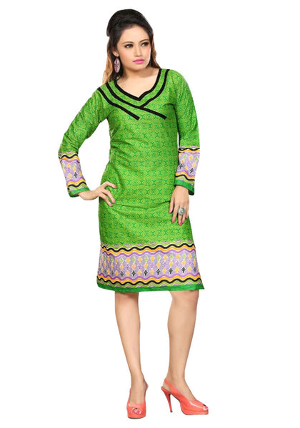 Designer Casual Cotton Long Kurtis Green Color Printed Cotton Kurtis Stitched Kurti