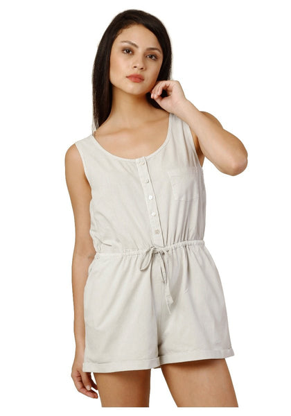 Trendy Rompers Beige Color Cotton Romper