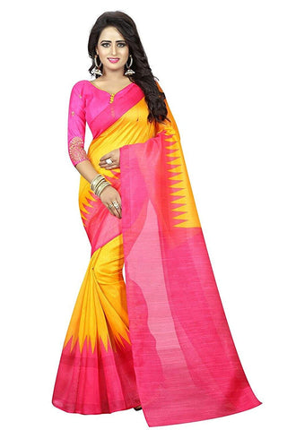 Yellow And Pink Saree Online