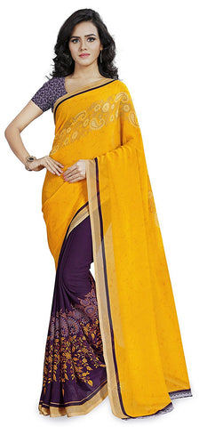 Yellow And Purple Saree