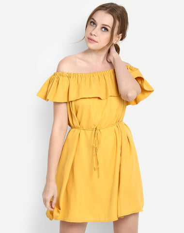 online-dresses-yellow-ruffled-off-shoulder-skater-midi-dress