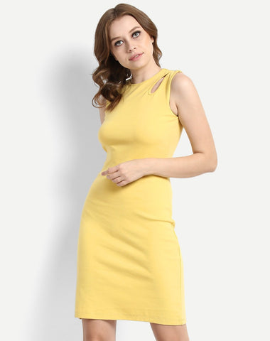 online-yellow-bodycon-dress-designer-sleeveless-round-neck-dress