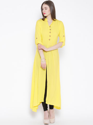 Yellow Ethnic Long Cotton Kurtis Kurtas Front Open Kurti For Girl