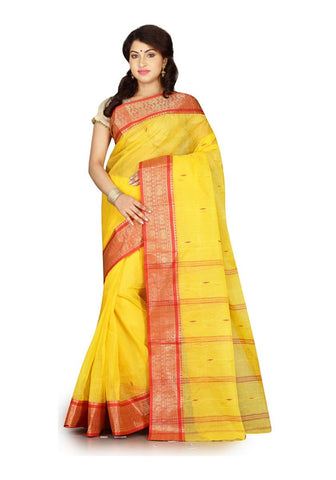 FS-22 Festival Sale Traditional Yellow Handloom Sarees Ethnic Print Red Border Sarees