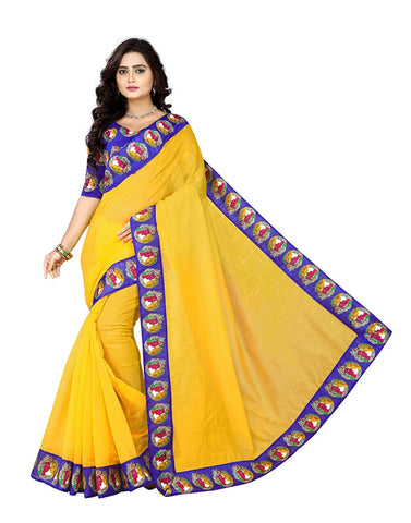 Yellow Saree With Blue Blouse