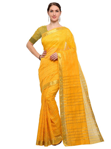 Yellow Saree With Golden Blouse