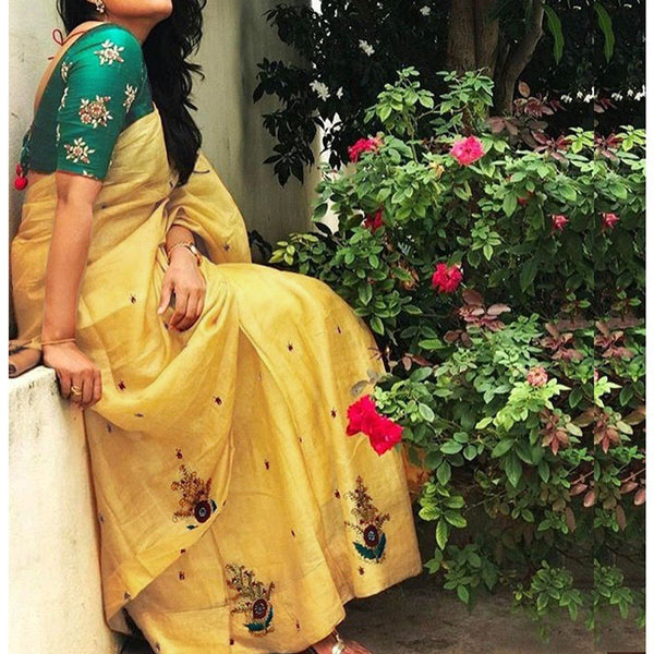 Yellow Saree with Green Blouse - Chanderi Yellow Embroidered Saree
