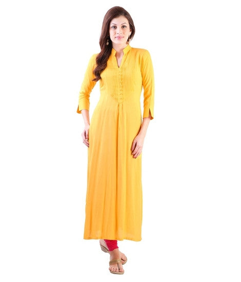 Fabulous Stylish Cotton Yellow Kurti For Women