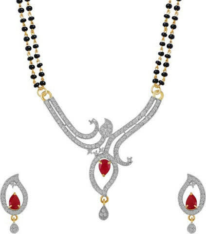 Women's Pride American Diamond Gold Plated Mangalsutra Pendant With Chain & Earrings For Women