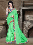 Urban-Naari-21705-Light-Green-Colored-Bhagalpuri-Silk-Printed-Saree