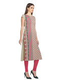 Designer Crepe Kurtis Multicolor Digital Print Long Crepe Kurtis For Girl