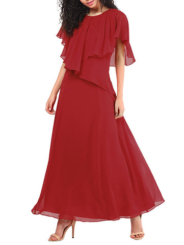 Designer Flayred Sleeves Long Maxi Dress Red Embellished Georgette Maxi Dresses Online