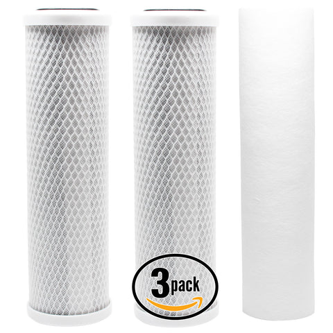 3-Pack Reverse Osmosis Water Filter Kit - Includes Carbon Block Filters & PP Sediment Filter