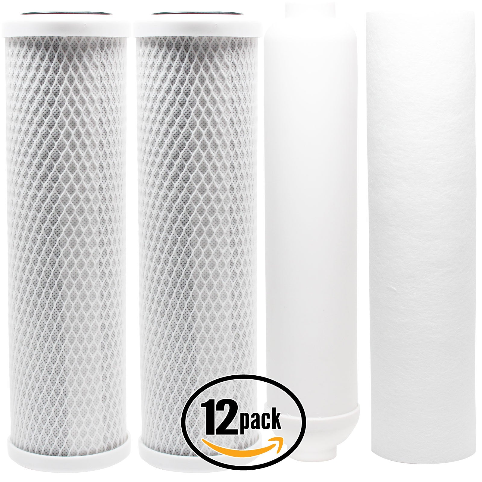 12-Pack Replacement Filter Kit for AMI AAA-245PU RO System - Includes Carbon Block Filters, PP Sediment Filter & Inline Filter Cartridge