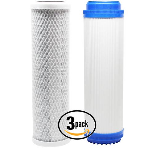 3-Pack Reverse Osmosis Water Filter Kit - Includes Carbon Block Filter & GAC Filter