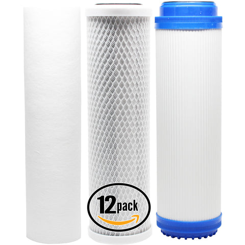 12-Pack Reverse Osmosis Water Filter Kit - Includes Carbon Block Filter, PP Sediment Filter & GAC Filter