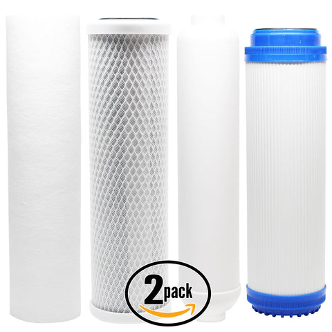 2-Pack Reverse Osmosis Water Filter Kit - Includes Carbon Block Filter, PP Sediment Filter, GAC Filter & Inline Filter Cartridge