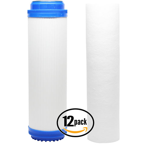 12-Pack Reverse Osmosis Water Filter Kit - Includes Carbon Block Filter & GAC Filter
