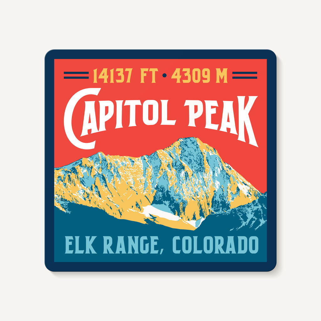 Capitol Peak Colorado 14er Travel Decal Sticker