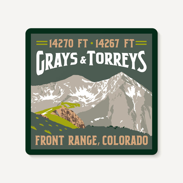 Grays Peak and Torreys Peak Colorado 14er Mountain Travel Decal Sticker