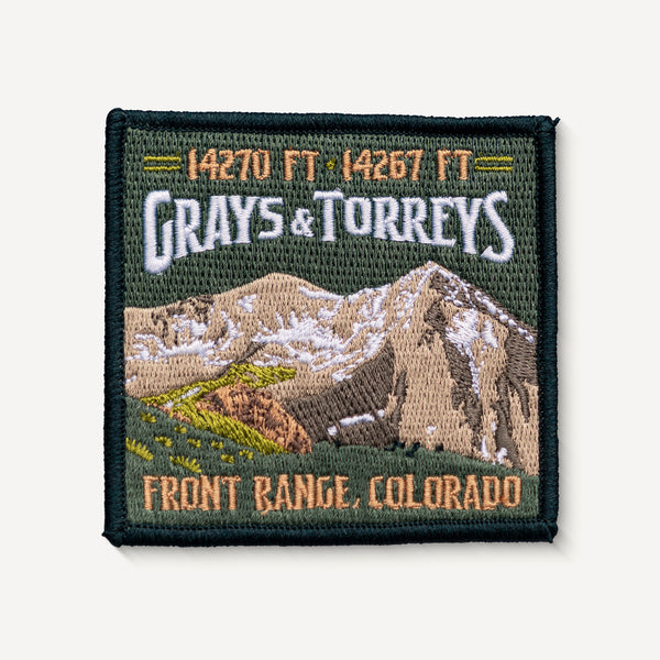 Grays Peak and Torreys Peak Colorado 14er Patch Embroidered Travel
