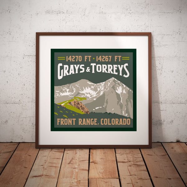 Grays Peak and Torreys Peak Colorado 14ers Giclee Art Print