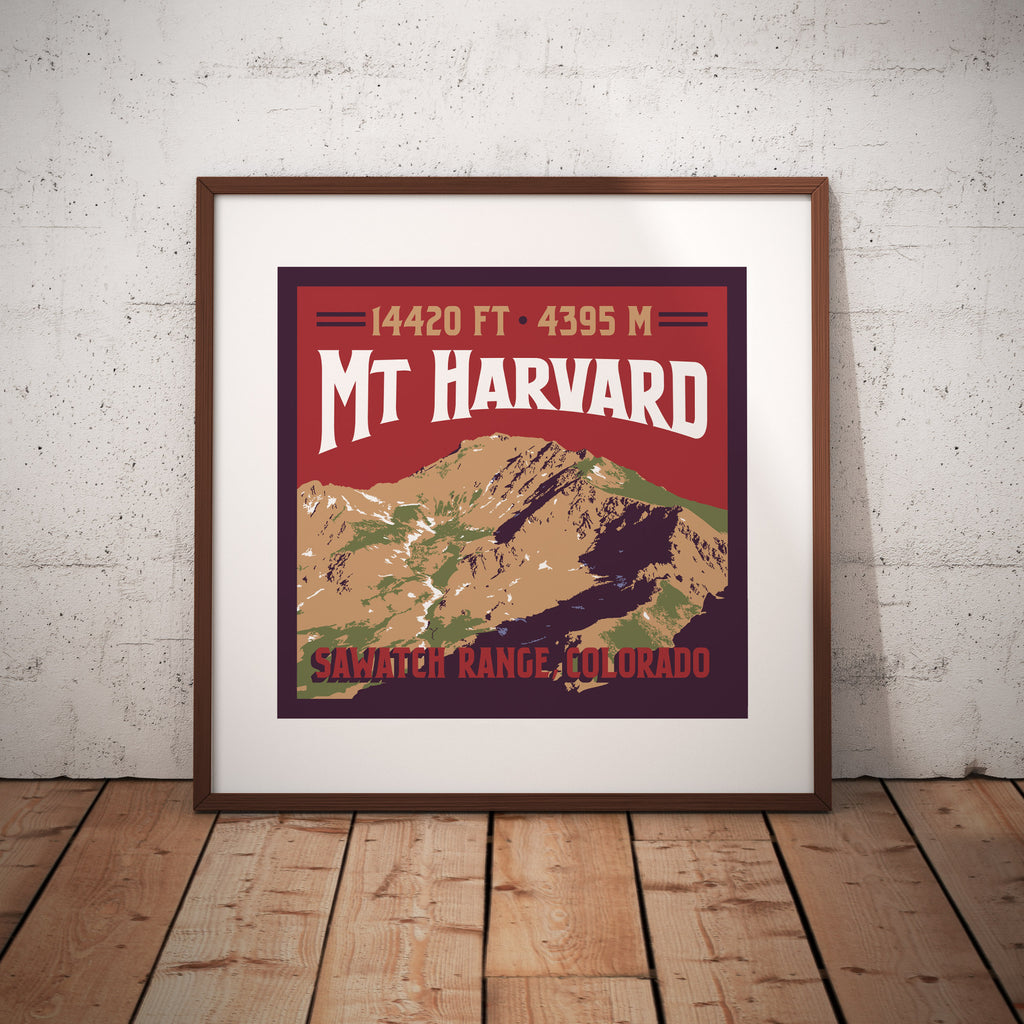 Mt. Harvard Colorado 14er Giclee Art Print