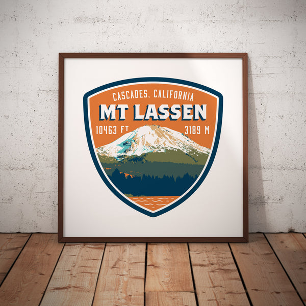 Mt Lassen Peak Cascades Californina Giclee Art Print