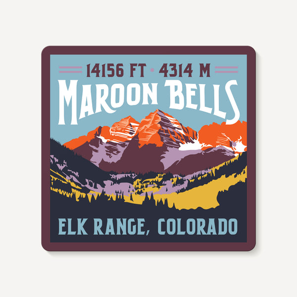 Maroon Bells Colorado 14er Mountain Travel Decal Sticker
