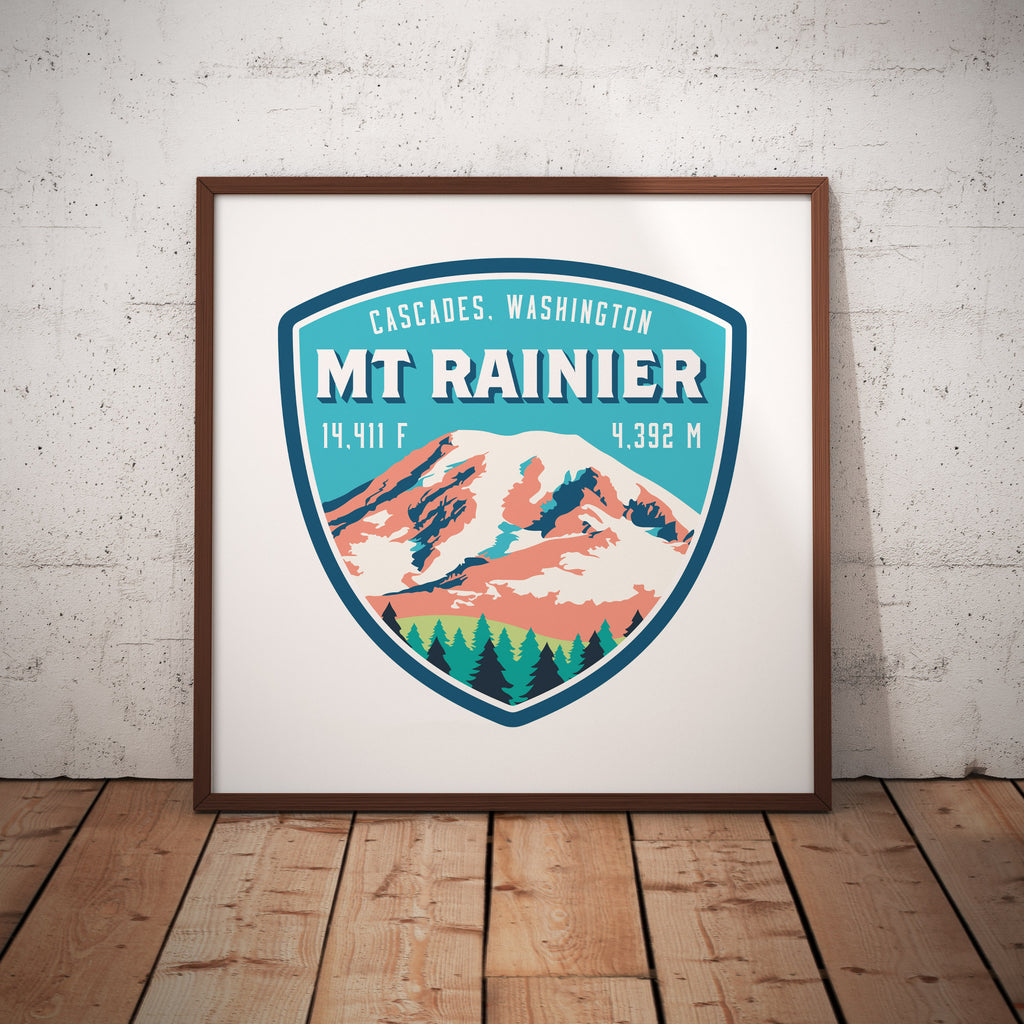 Mount Rainier Washington Cascades Giclee Art Print