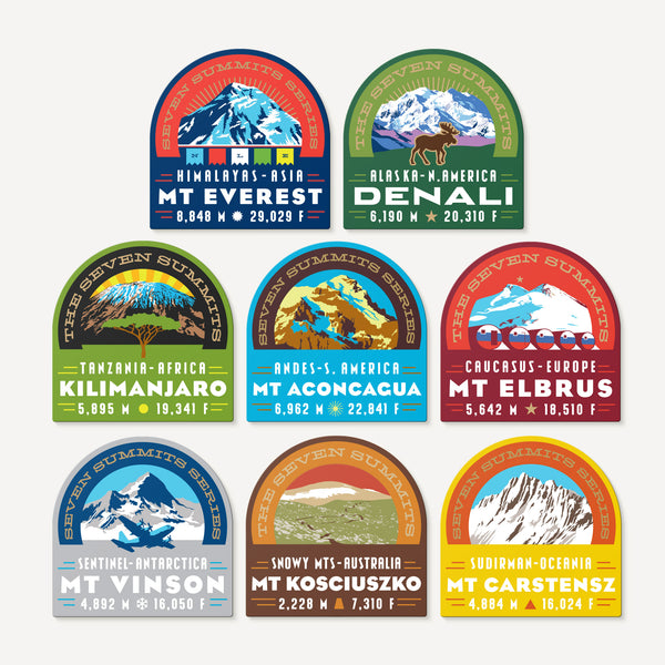The Seven Summits Decal Collection