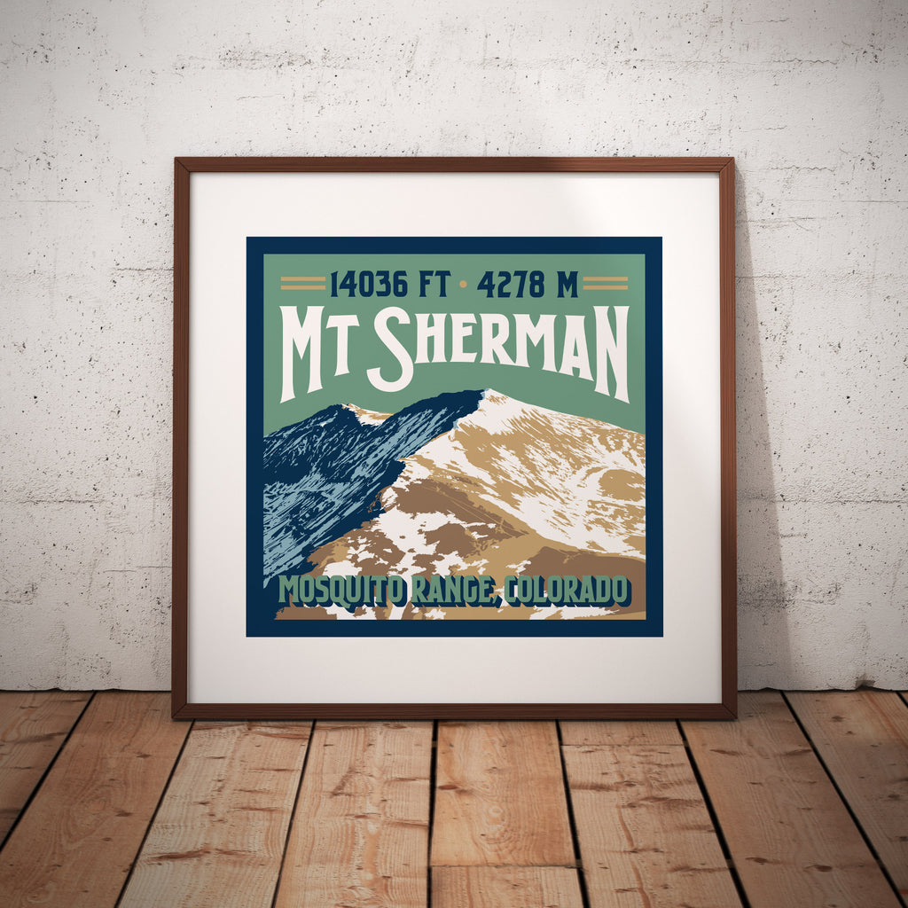 Mount Sherman Colorado 14er Giclee Art Print
