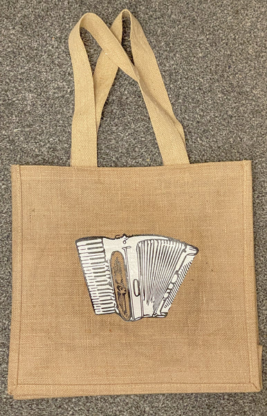 Unique Hand Decorated Jute Bag featuring an Accordion