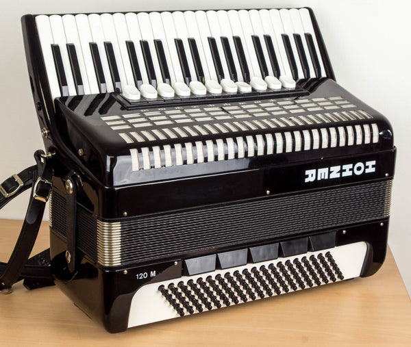 Hohner 120M 4 voice musette 120 bass Piano Accordion - TheReedLounge.com