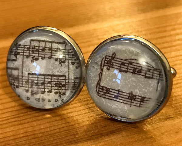 Cufflinks, featuring printed music - TheReedLounge.com