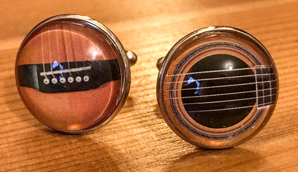 Cufflinks, featuring guitar
