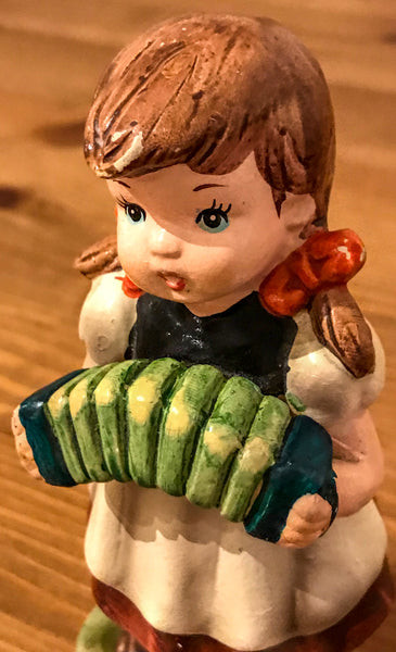 Little Girl with Concertina Pottery Figurine - TheReedLounge.com