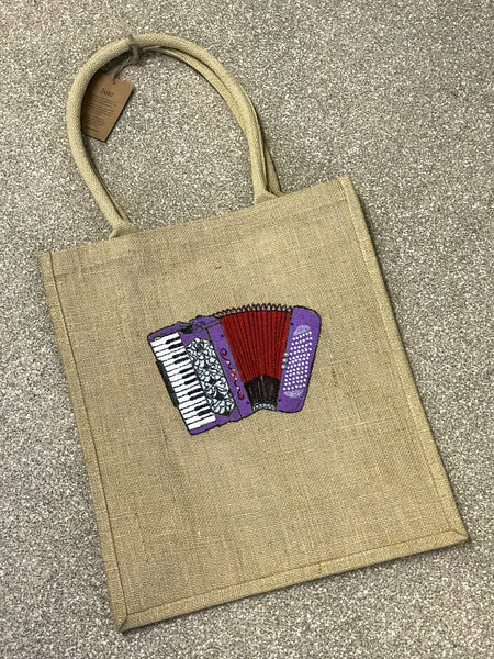 Unique Hand Decorated Jute Shopping Bag featuring an Accordion - TheReedLounge.com