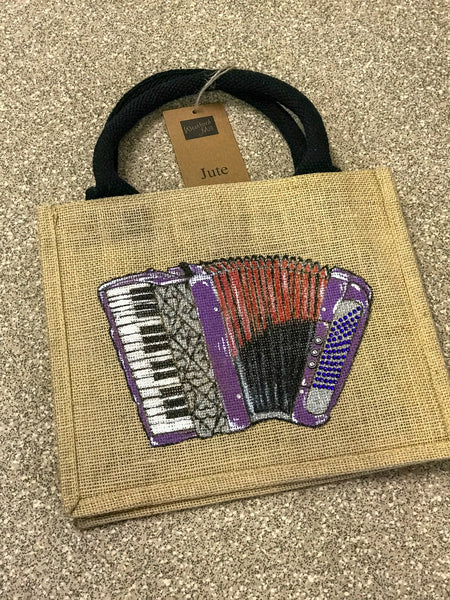 Unique Hand Decorated Jute Gift Bag featuring an Accordion - TheReedLounge.com