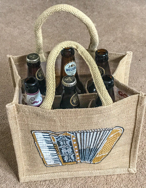 6 Bottle Carrier, hand decorated - TheReedLounge.com