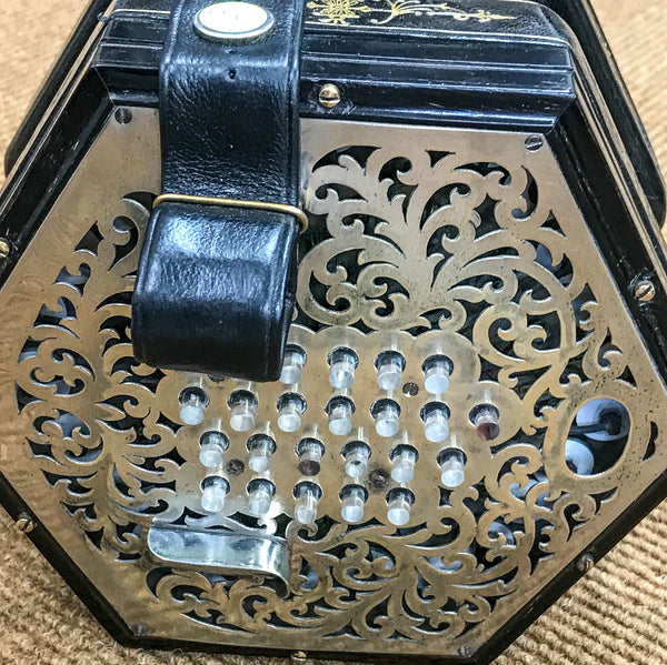 Wheatstone 48 key English concertina, raised metal ends, glass buttons - TheReedLounge.com