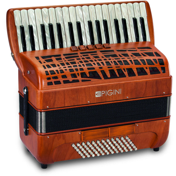 Pigini Deluxe Cherrywood P36-3 72 Bass Piano Accordion - TheReedLounge.com
