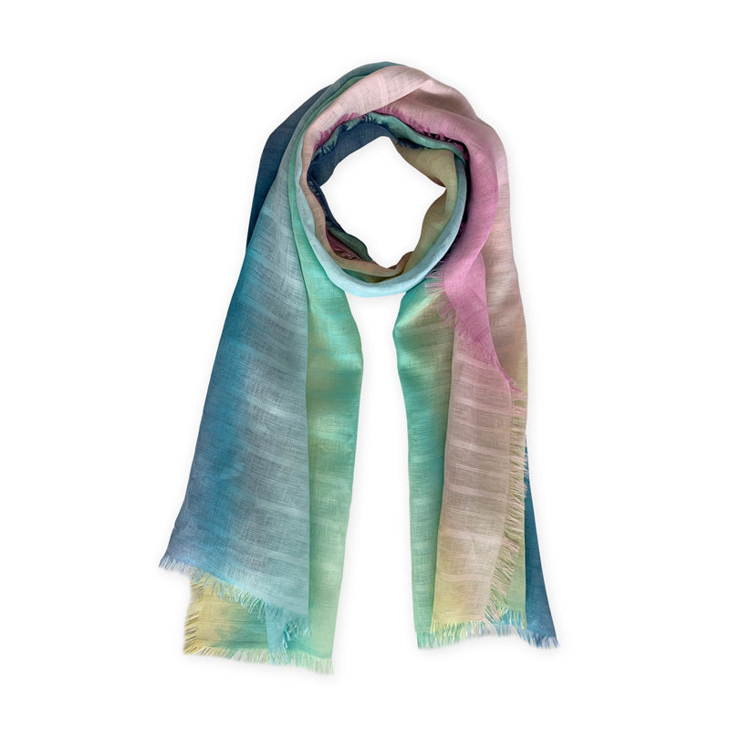 linen-scarf-hand-painted-70x200cm-green-pink-otta-italy-2142